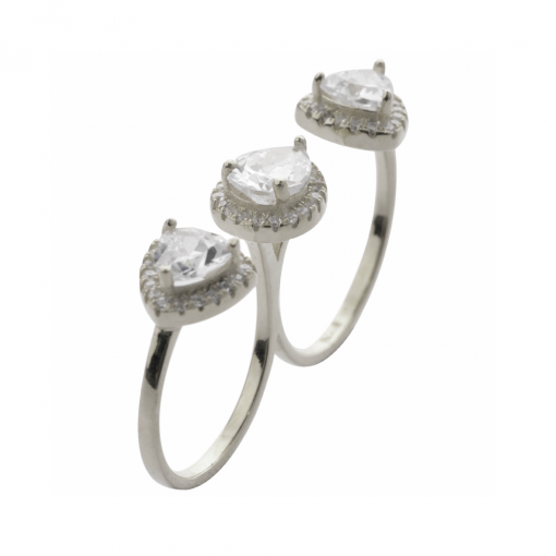cubic zirconia double ring 2