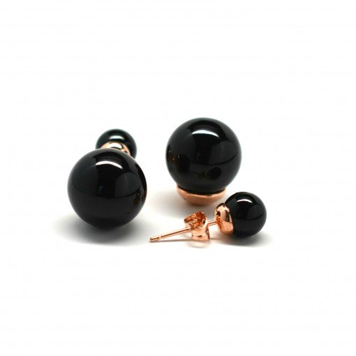 black double pearl earrings 1
