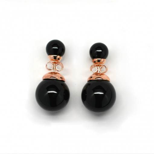 black double pearl earrings 3