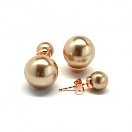 champagne double pearl earrings 2
