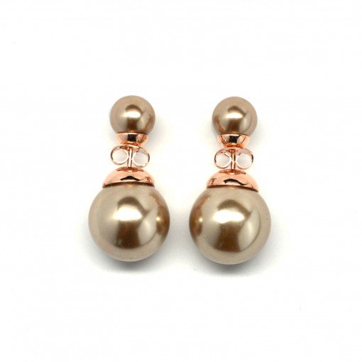 champagne double pearl earrings 3