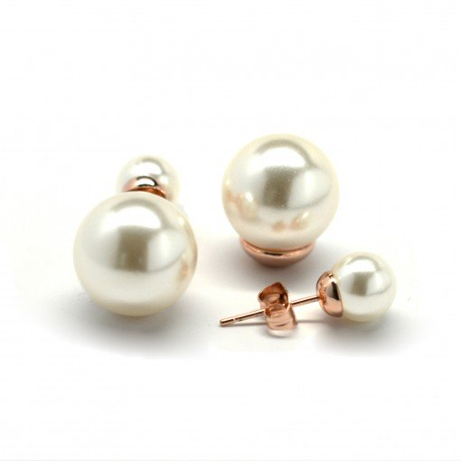 cream white double pearl earrings 1