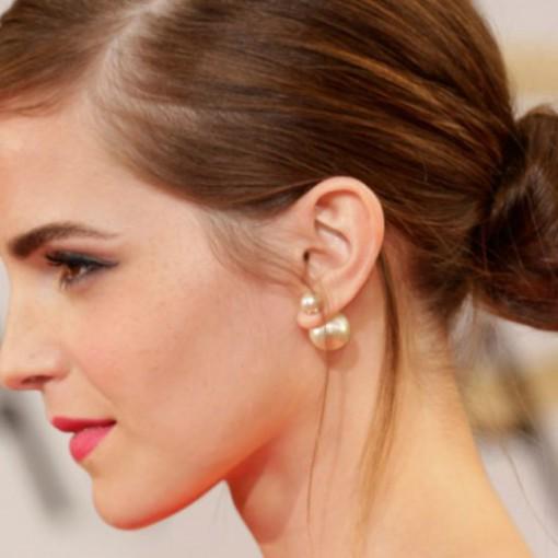 double pearl earrings -emma