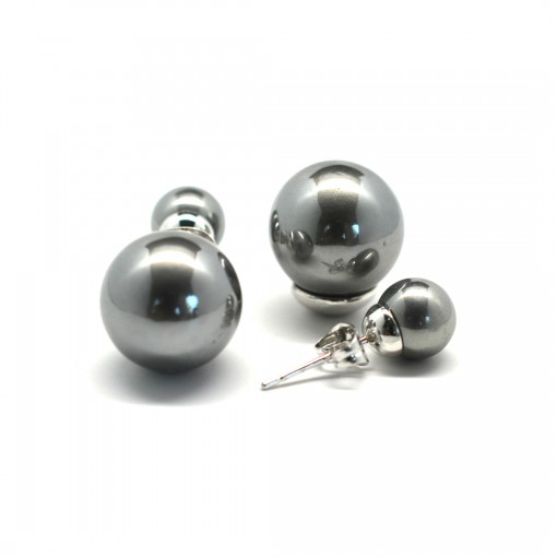 gray double pearl earrings 1