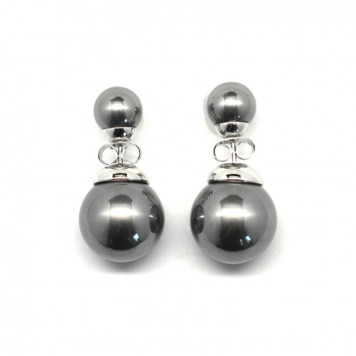 gray double pearl earrings 3