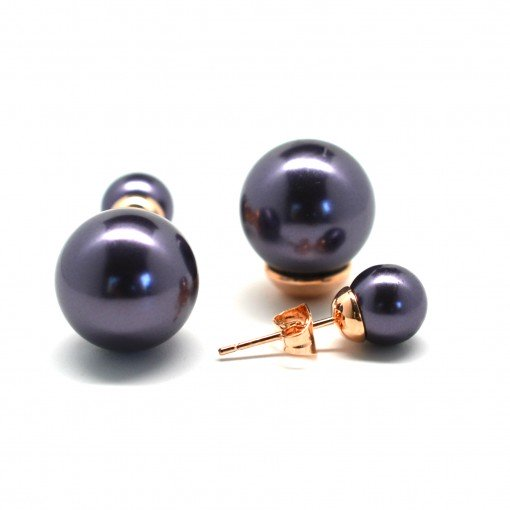 purple double pearl earrings 3
