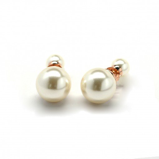 cream white double pearl earrings 3