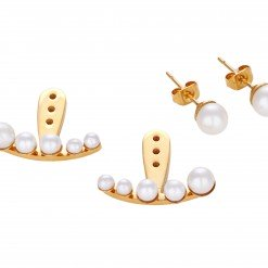 Miss Mozart Stainless Steel Crescent Pearl Ear Jackets _7857