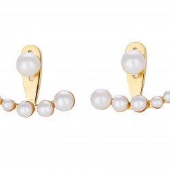 Miss Mozart Stainless Steel Crescent Pearl Ear Jackets _7854