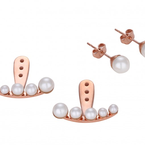 Miss Mozart Stainless Steel Crescent Pearl Ear Jackets _7861