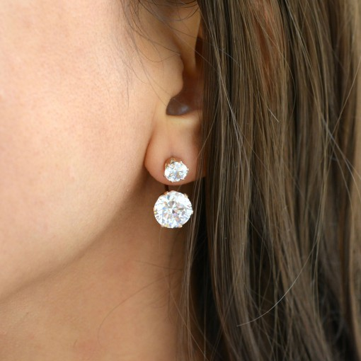 Pink Gold Plated Double Stone Ear Jackets1