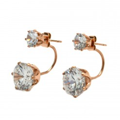 Pink Gold Plated Double Stone Ear Jackets2