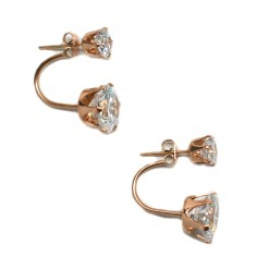 Pink Gold Plated Double Stone Ear Jackets3