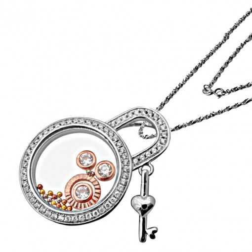 lock and key floating charm necklace 2
