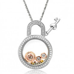 lock and key floating charm necklace 1