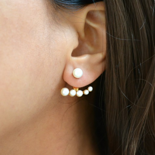 Miss Mozart Stainless Steel Crescent Pearl Ear Jackets _model