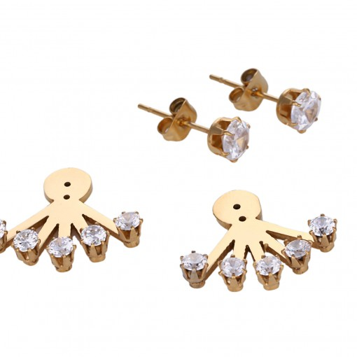 stainless steel 5 rhinestone ear jackets 3