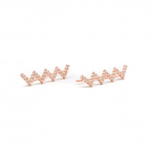 Zig Zag Ear Climbers Rose Gold