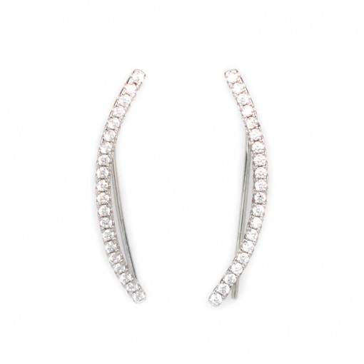 Skinny Bar Ear Climbers Silver 1