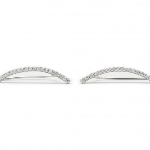 Skinny Bar Ear Climbers Silver 2