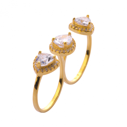 cubic zirconia double ring 4