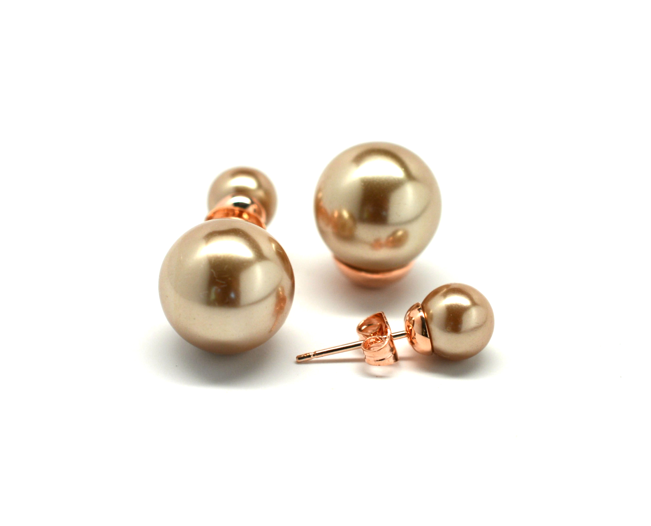 Champagne Double Pearl Earrings 2