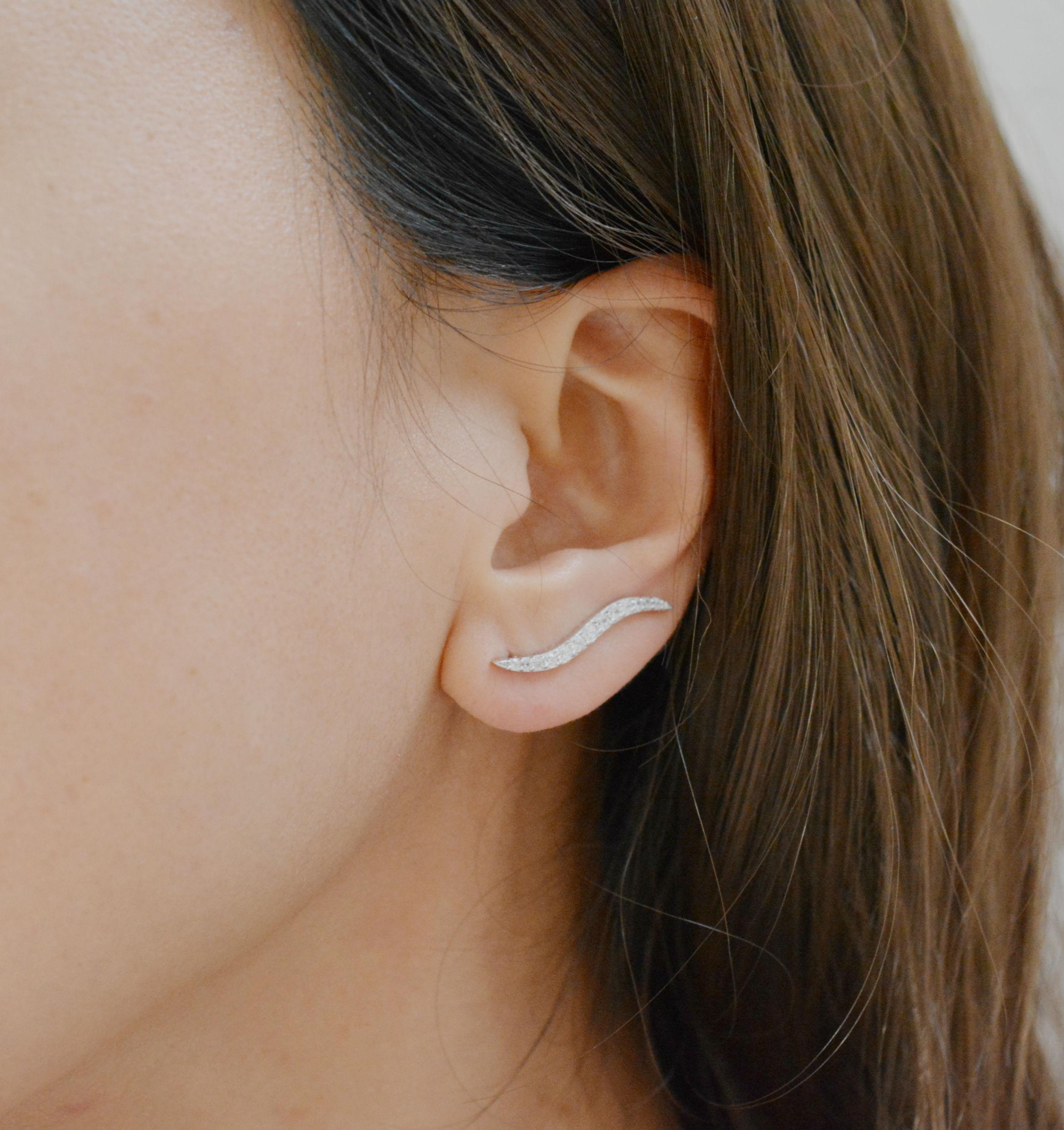 Silver Ear Climber Sterling Silver Ear Crawler Earrings Silver Ear Crawler