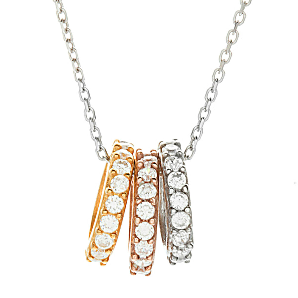 Miss Chopin Sterling Silver Three Ring Necklace Misschopin