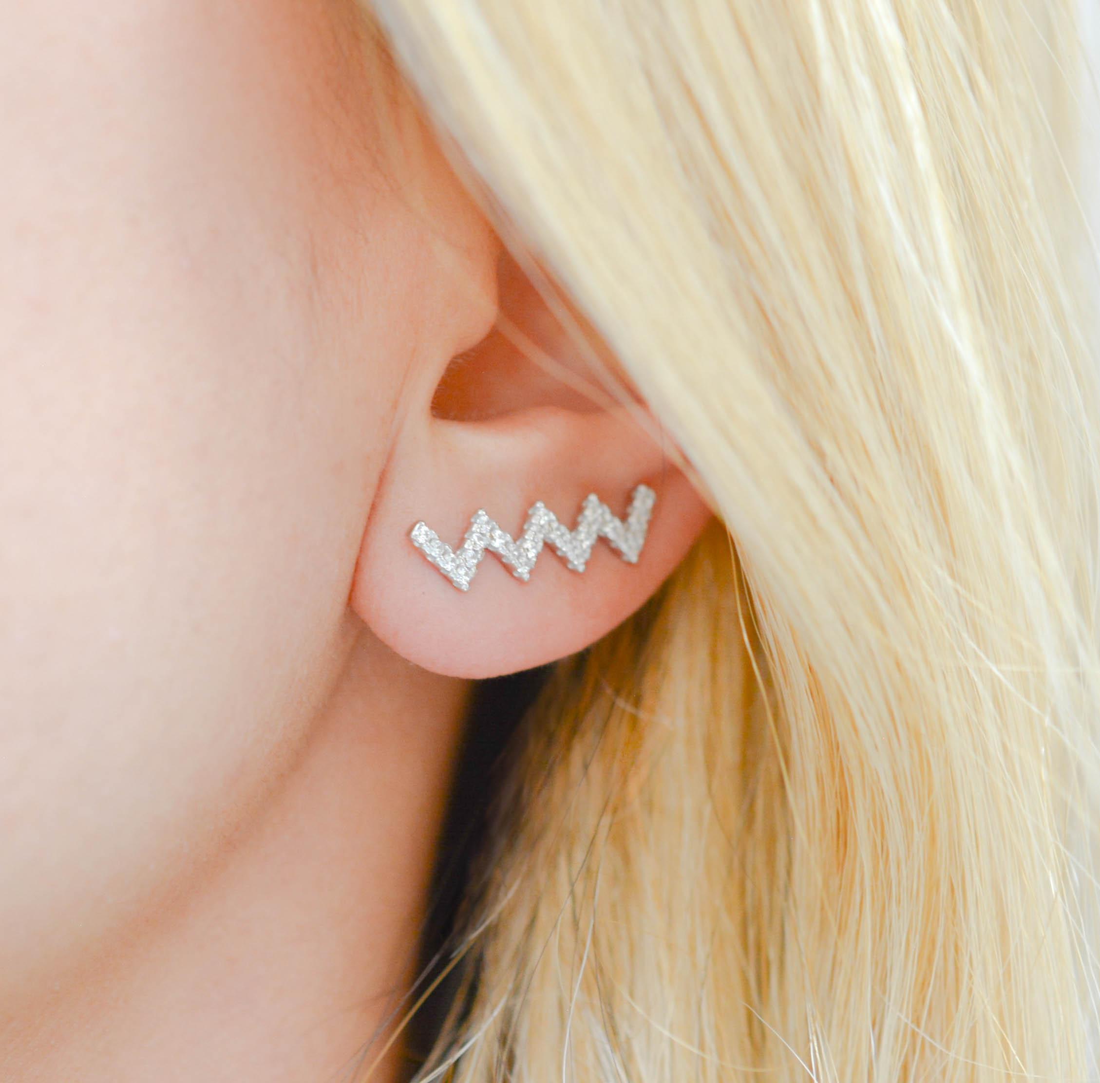silver ear climber silver zigzag crawler minimal ear cuff climber earrings silver earring earring pin zigzag earring silver zigzag crawler